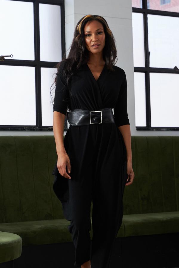 Joseph Ribkoff Belted Jumpsuit Style 213410. Black