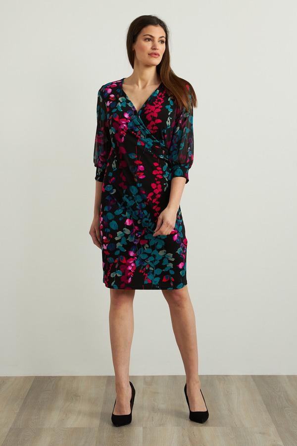 Joseph Ribkoff Floral Chiffon Dress Style 213414. Black/Multi