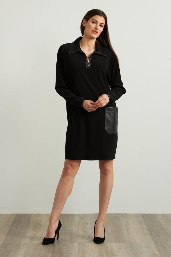 Joseph Ribkoff Leatherette Accent Dress Style 213415. Black