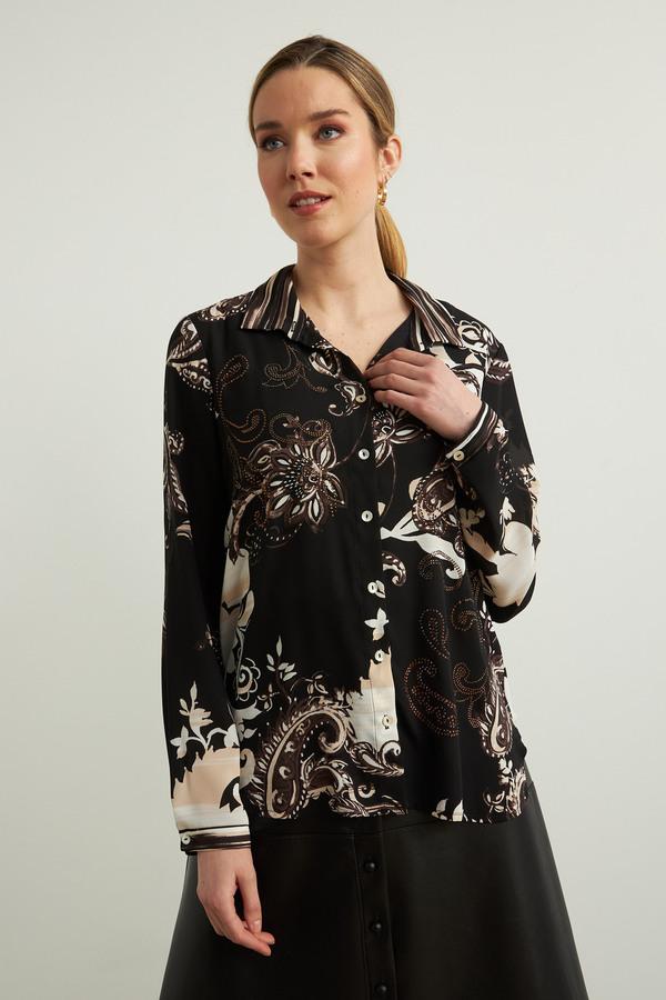 Joseph Ribkoff Paisley Print Blouse Style 213420. Black/Sand