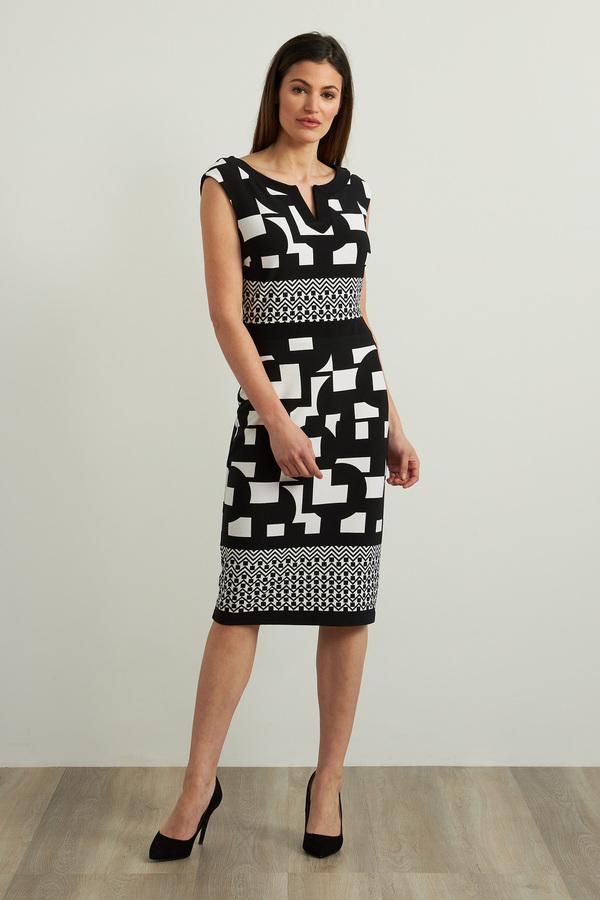Joseph Ribkoff Geo Sheath Dress Style 213423. Black/Vanilla