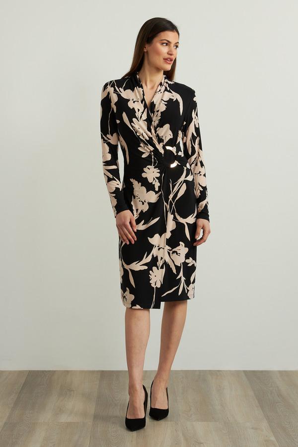 Joseph Ribkoff Floral Wrap Front Dress Style 213424. Black/Beige