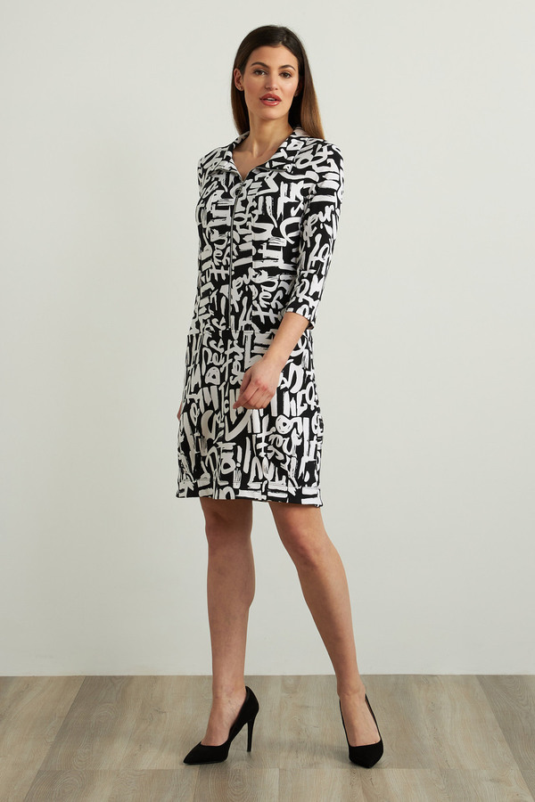 Joseph Ribkoff Graffiti Print Dress Style 213426. Black/Vanilla