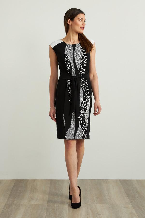 Joseph Ribkoff Abstract Sheath Dress Style 213442. Black/Vanilla