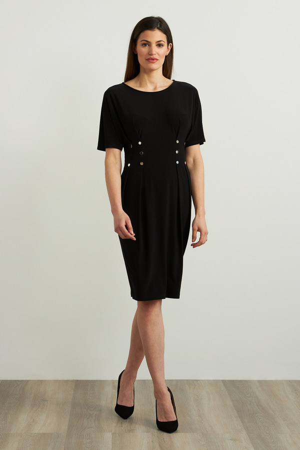 Joseph Ribkoff Waist Buttoned Dress Style 213445. Black