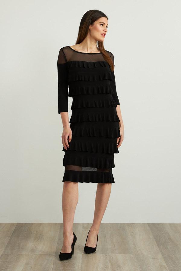 Joseph Ribkoff Tiered Ruffle Dress Style 213457. Black