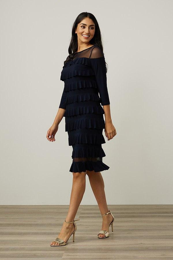 Joseph Ribkoff Tiered Ruffle Dress Style 213457. Midnight Blue 40