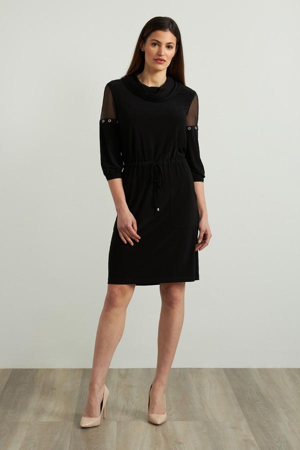 Joseph Ribkoff Mesh Detail Dress Style 213458. Black