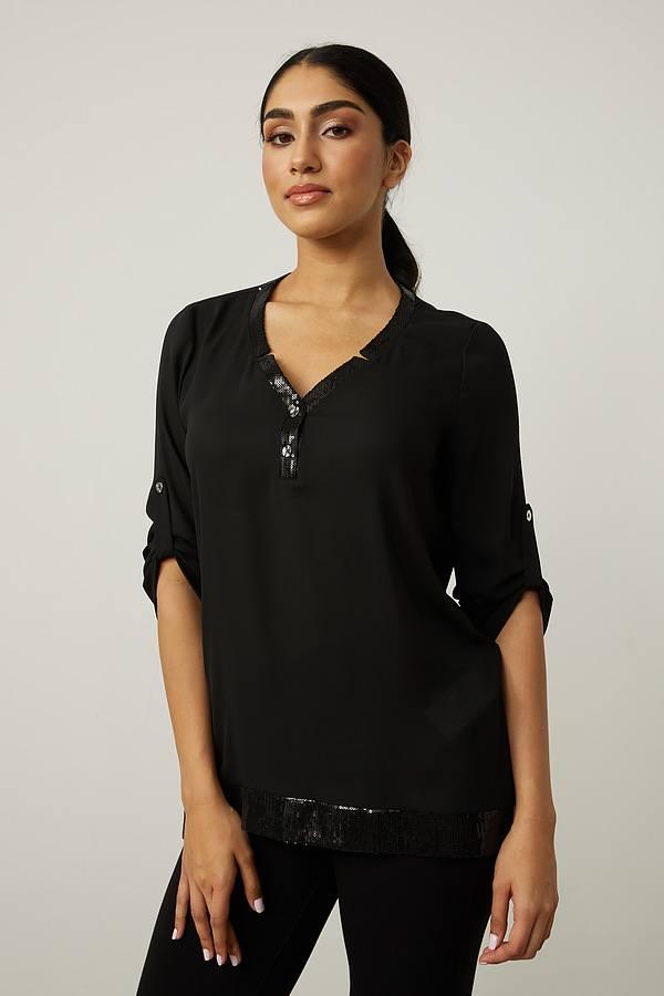 Joseph Ribkoff Button Front Top Style 213465. Black