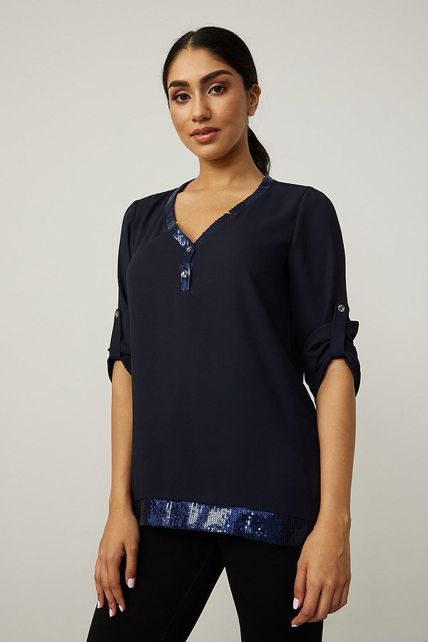 Joseph Ribkoff Button Front Top Style 213465. Midnight Blue