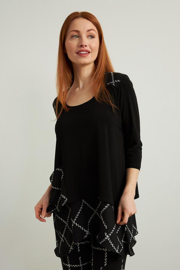 Joseph Ribkoff Checkered Top Style 213468. Black/Vanilla