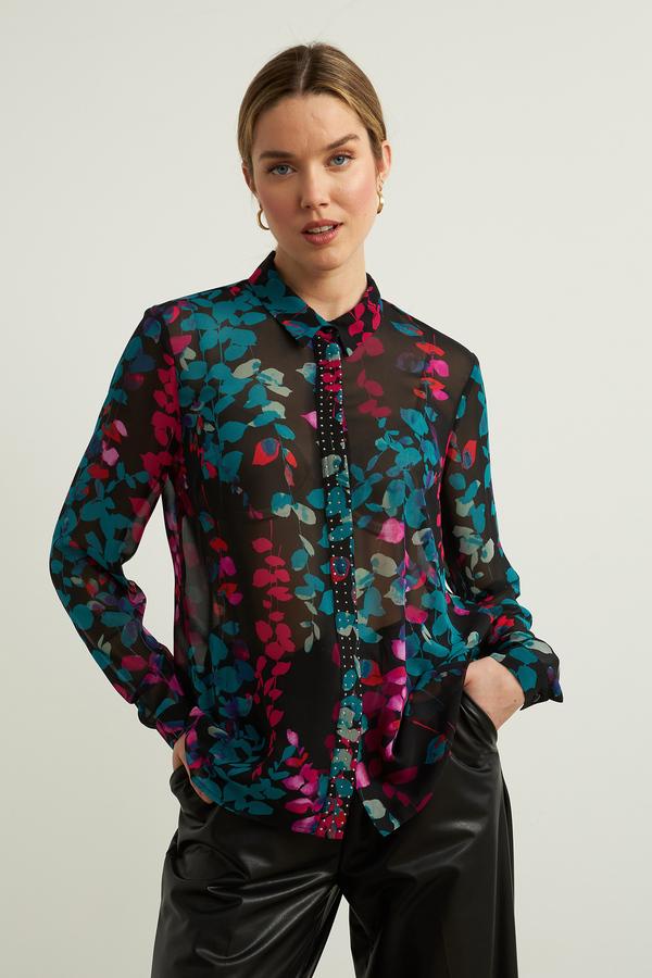 Joseph Ribkoff Floral Chiffon Blouse Style 213469. Black/Multi