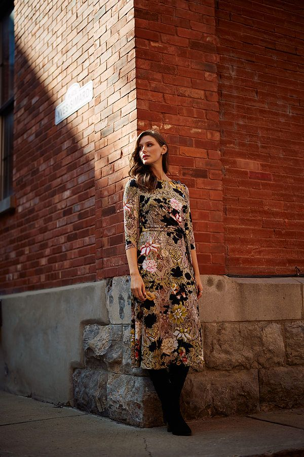 Joseph Ribkoff Paisley & Floral Dress Style 213560. Black/Multi