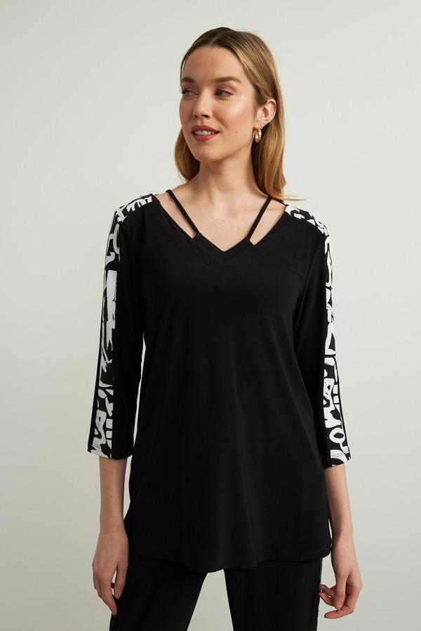 Joseph Ribkoff Geometric Trim Top Style 213568. Black/Vanilla