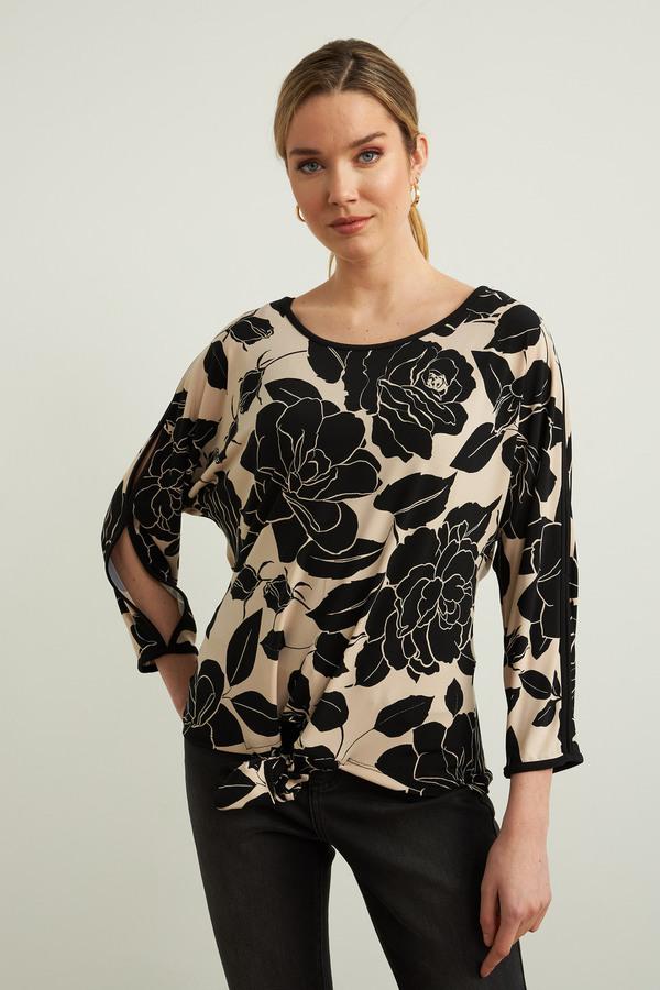 Joseph Ribkoff Floral Self-Tie Top Style 213571. Black/Beige
