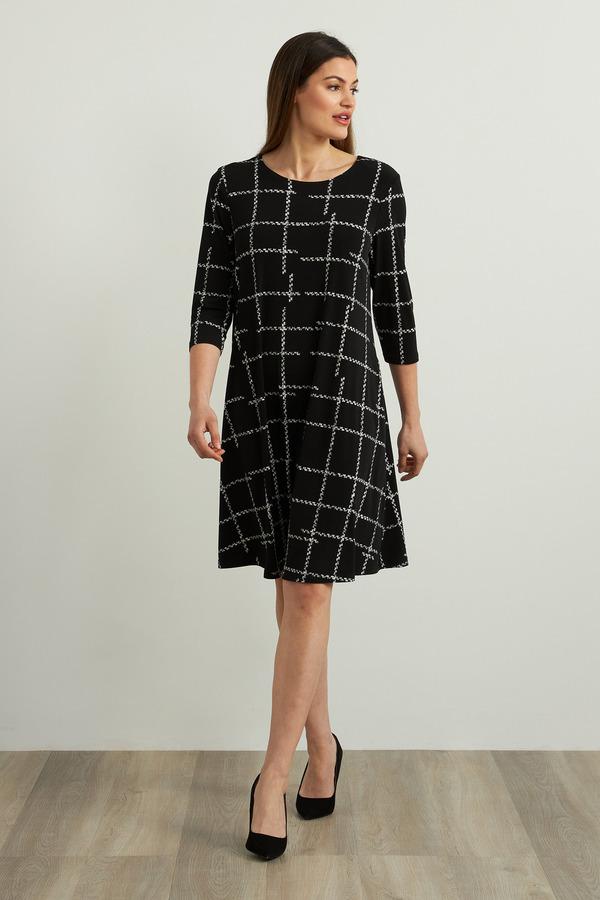 Joseph Ribkoff Check Print Dress Style 213581. Black/Vanilla