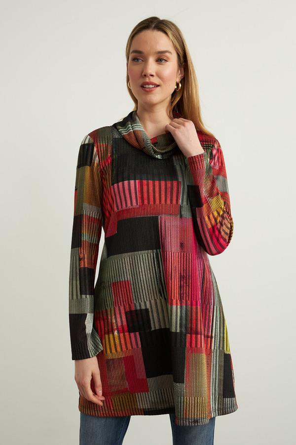 Joseph Ribkoff Abstract Tunic Style 213588. Black/Multi