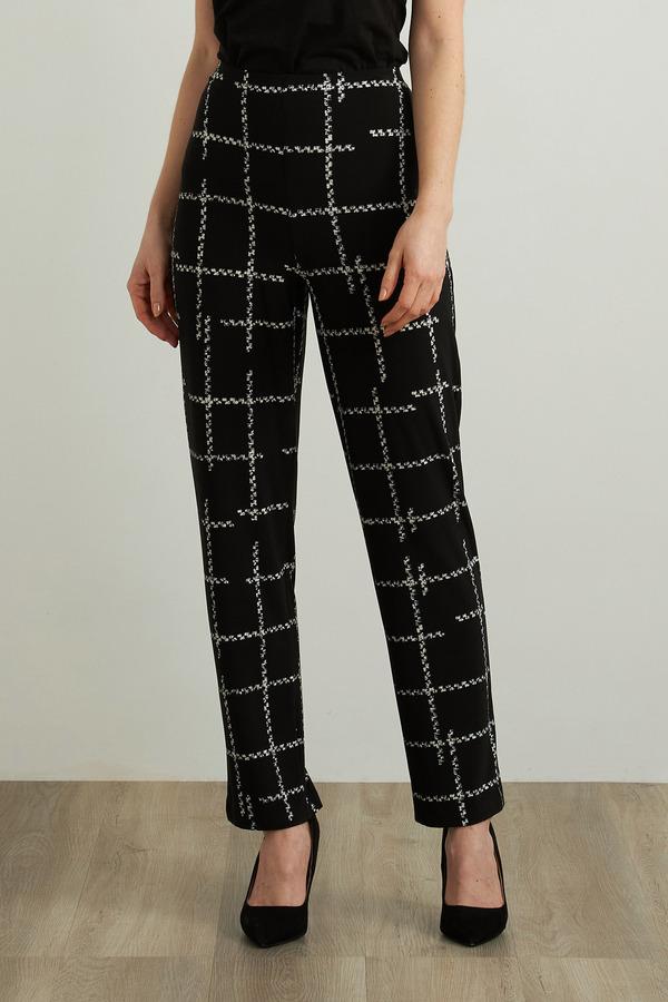Joseph Ribkoff Check Print Pants Style 213591. Black/Vanilla