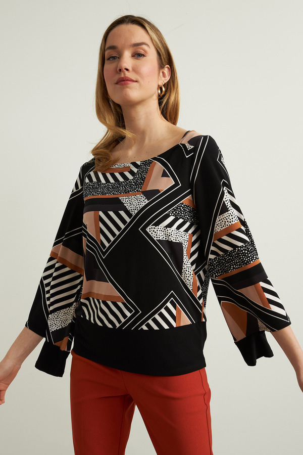 Joseph Ribkoff Geometric Top Style 213596. Black/Multi