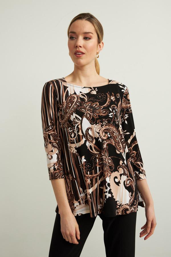 Joseph Ribkoff Paisley Print Top Style 213597. Black/Sand