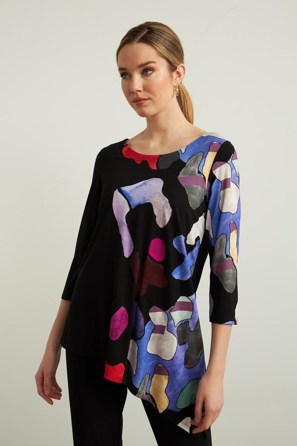 Joseph Ribkoff Asymmetric Knit Top Style 213599. Black/Multi