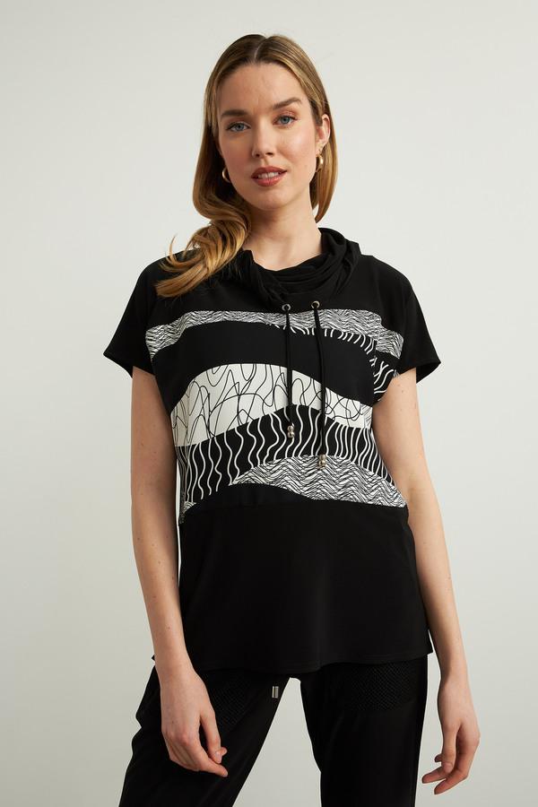 Joseph Ribkoff Woven Geometric Top Style 213608. Black/Vanilla