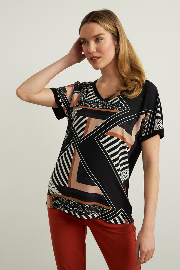 Joseph Ribkoff Geometric Top Style 213609. Black/Multi