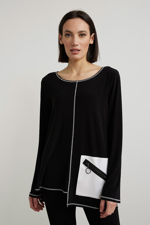 Joseph Ribkoff Tuniques Noir/Vanille Style 213614