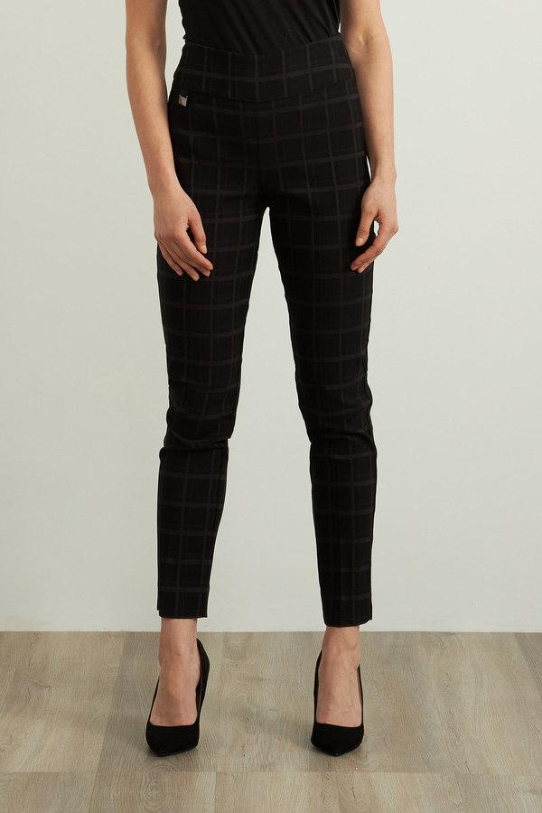 Joseph Ribkoff Check Print Pants Style 213617. Black