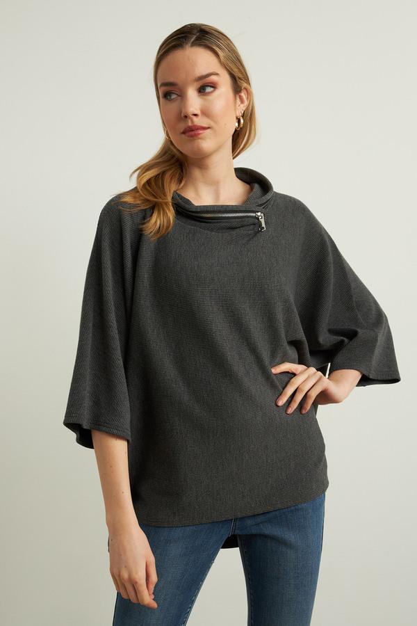 Joseph Ribkoff Hooded Top Style 213621. Grey melange/black