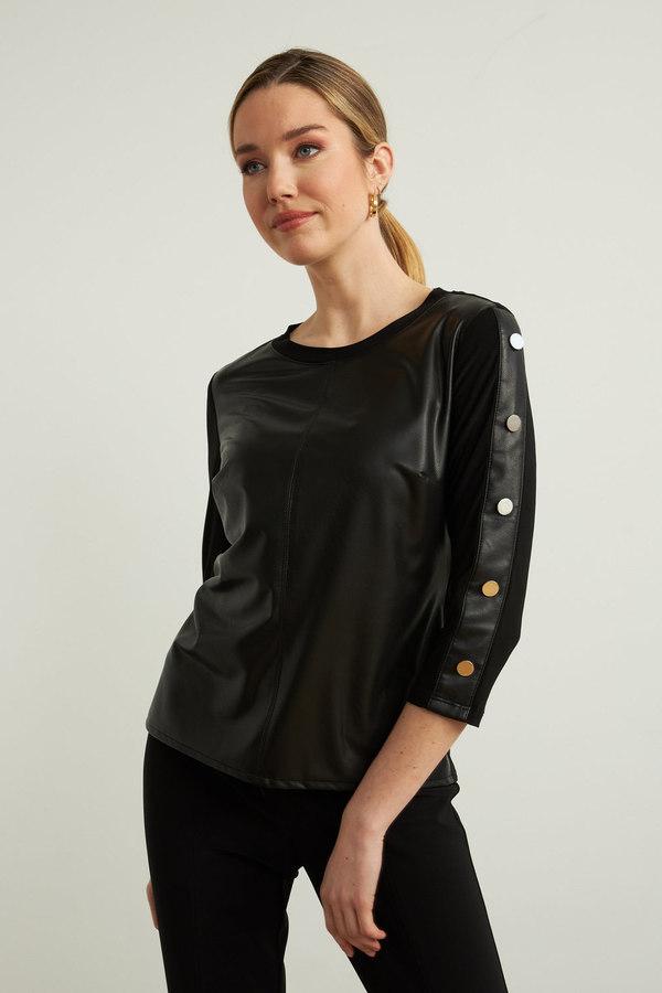 Joseph Ribkoff Faux Leather Top Style 213624. Black