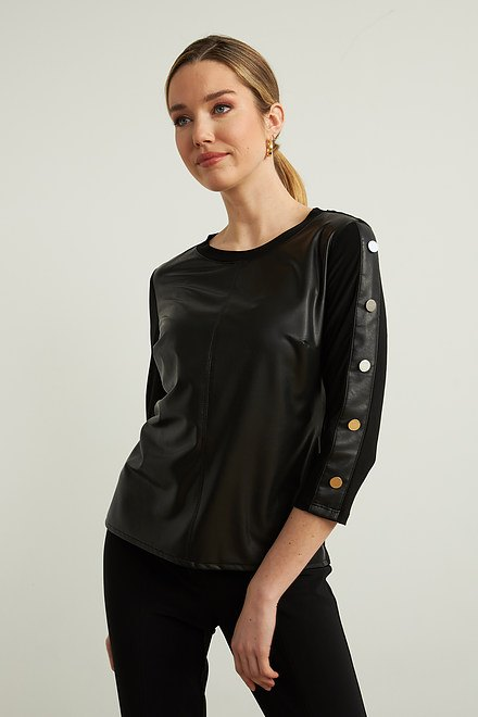 Joseph Ribkoff Faux Leather Top Style 213624