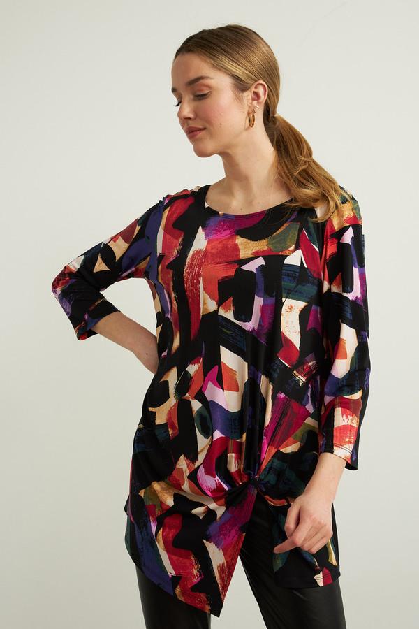 Joseph Ribkoff Asymmetrical Top Style 213636. Black/Multi