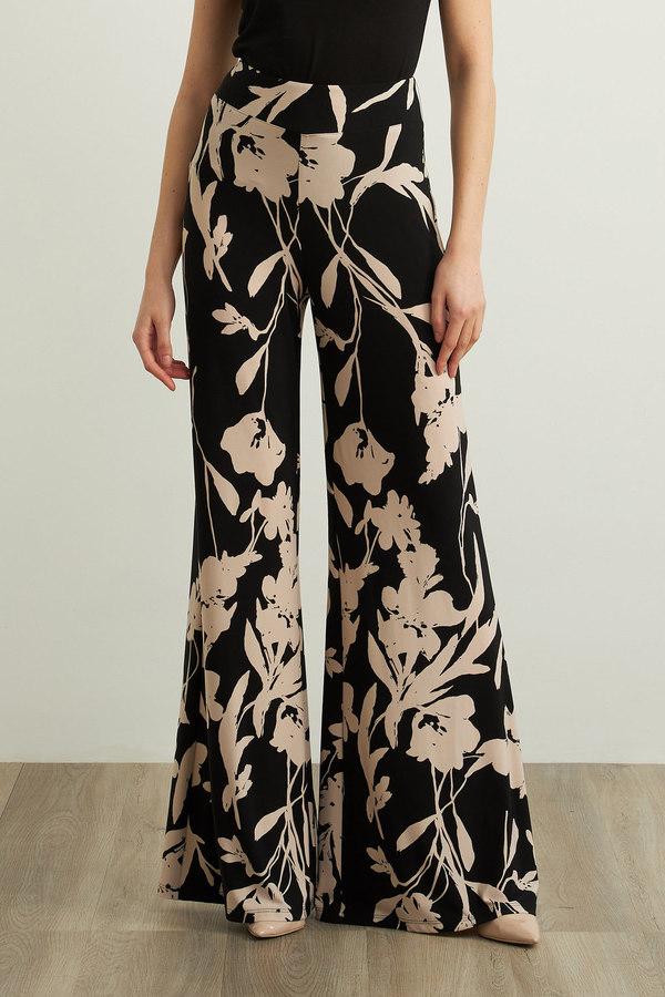 Joseph Ribkoff Floral Flared Leg Pants Style 213642. Black/Beige