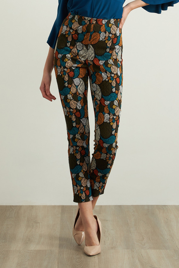 Joseph Ribkoff Abstract Print Pants Style 213644. Black/Multi