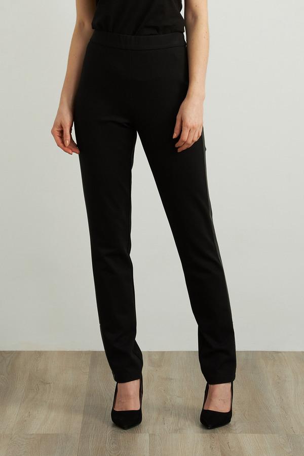 Joseph Ribkoff Faux Leather Accent Pants Style 213652. Black