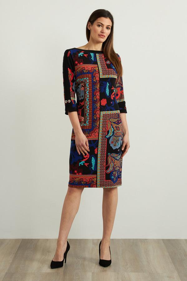 Joseph Ribkoff Mixed Paisley Print Dress Style 213658. Black/Multi