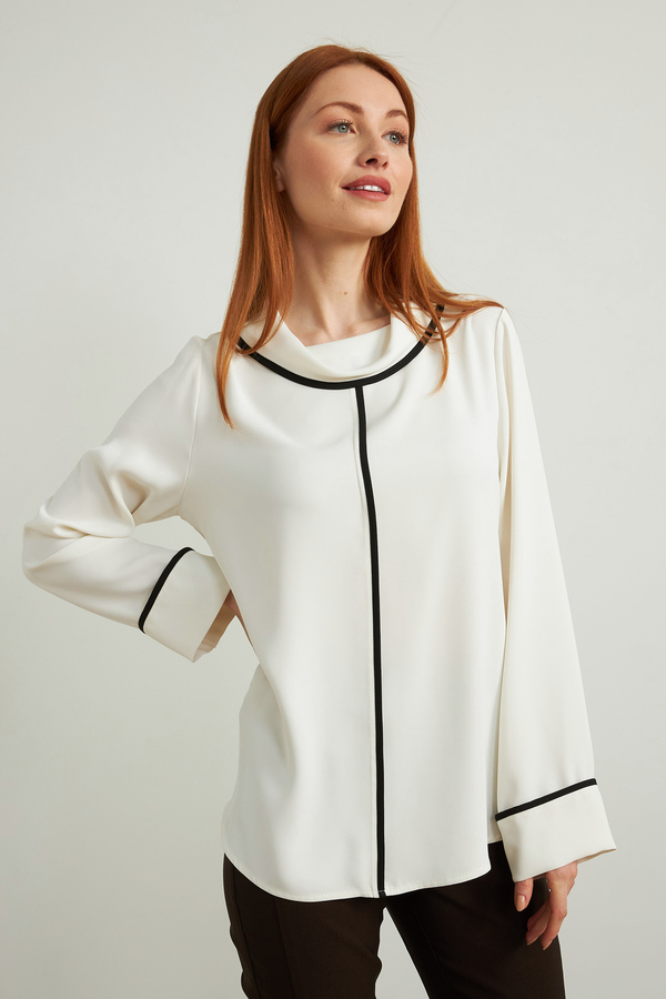 Joseph Ribkoff Contrast Piping Blouse Style 213659. Vanilla/Black