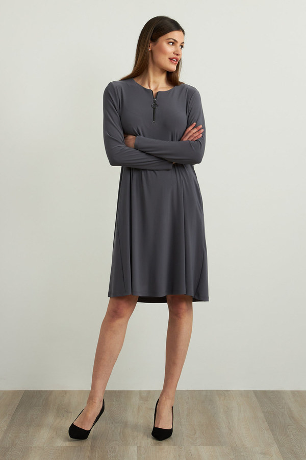 Joseph Ribkoff Fit & Flare Dress Style 213662. Granite