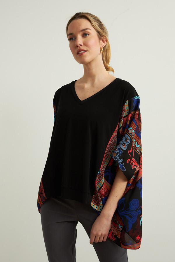 Joseph Ribkoff Paisley Poncho Top Style 213673. Black/Multi