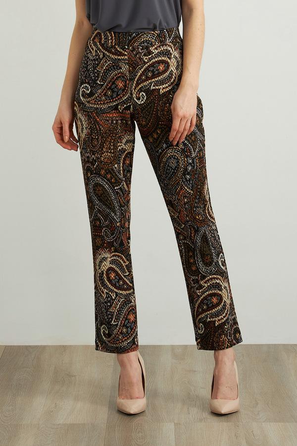 Joseph Ribkoff Paisley Slim Leg Pants Style 213675. Black/Multi