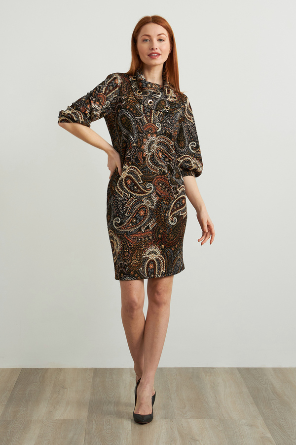 Joseph Ribkoff Printed Shift Dress Style 213679. Black/Multi