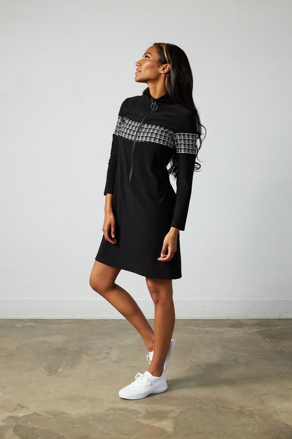Joseph Ribkoff Zip Accent Dress Style 213681. Black/White