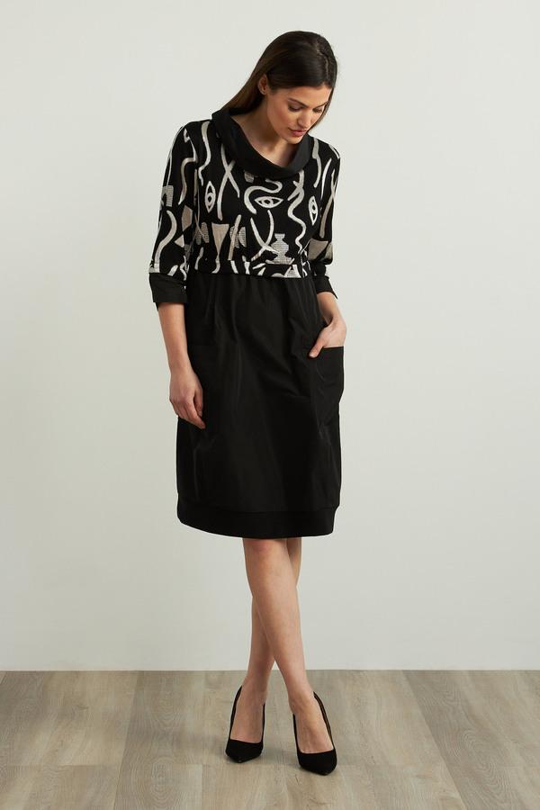 Joseph Ribkoff Knit Dress Style 213682. Black/Ecru