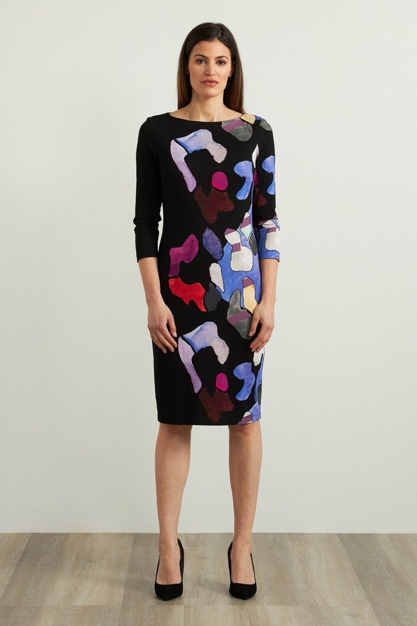 Joseph Ribkoff Black/Multi Dresses Style 213687
