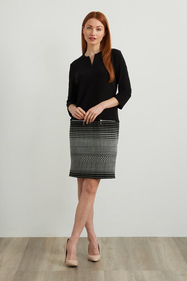 Joseph Ribkoff Jacquard Knit Dress Style 213694. Silver/Black