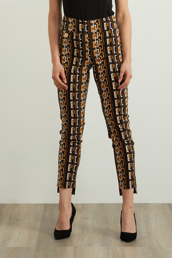 Joseph Ribkoff Geometric Print Pants Style 213697. Black/Multi