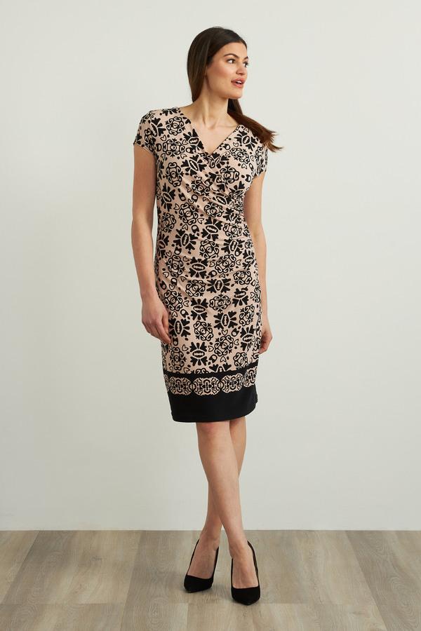 Joseph Ribkoff Printed Dress Style 213701. Black/Sand