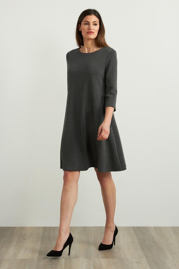 Joseph Ribkoff 3/4 Sleeve A-Line Dress Style 213705. Grey melange/black