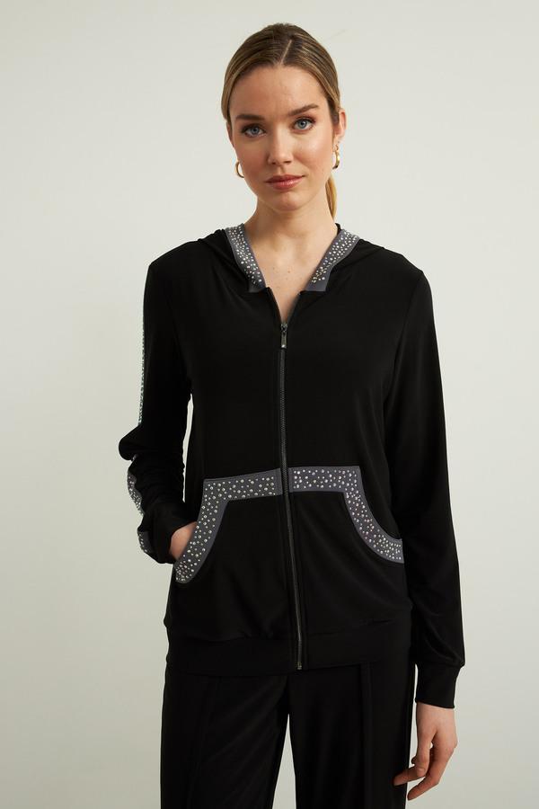 Joseph Ribkoff Hooded Jacket Style 213893. Black/granite